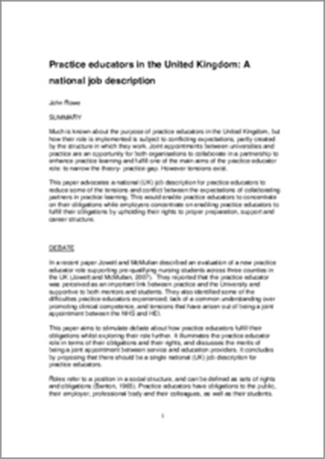 practice educators in the united kingdom a national job