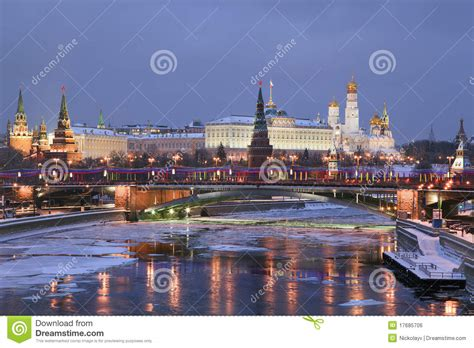 Winter View Of Moscow River And Kremlin Stock Photo ...