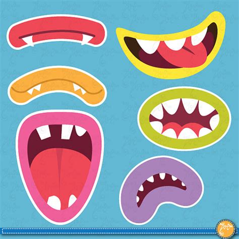 free printable monster photo booth props cute monsters mouths digital clip art set monster grin