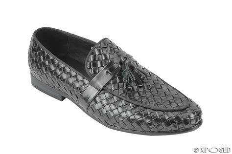 mens woven leather loafers men s black real basket woven leather tassel loafer