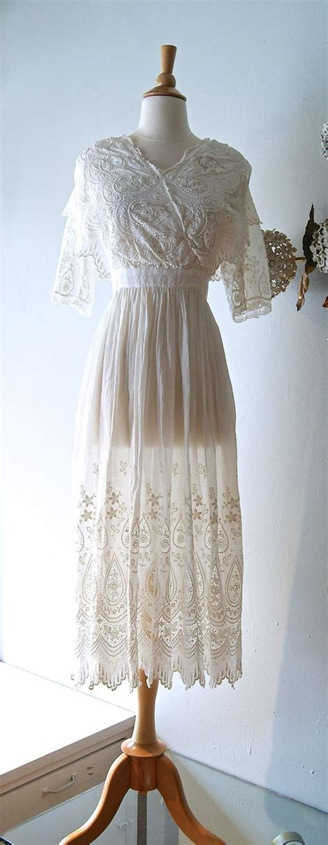 Vintage Cotton Wedding Dresses by Reserved Dwardian Wedding Dress Vintage Cotton Lace