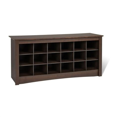 prepac espresso storage cubbie bench shoe rack