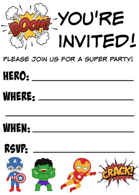 free printable superhero birthday invitations disney
