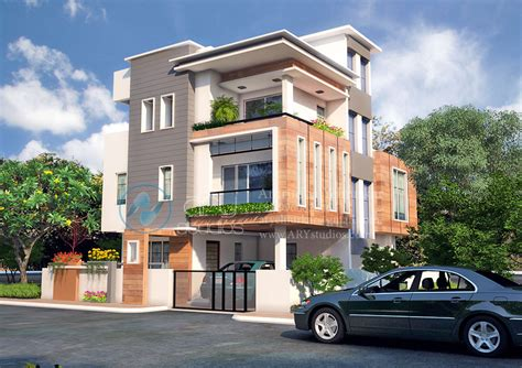 3d Bungalow Rendering Architectural Day View Realistic