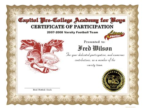 football certificate templates free football certificates