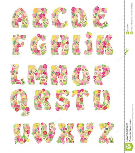 printable alphabet letters with flowers vector flower alphabet stock vector illustration of