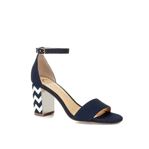 chunky heel sandals c canvas chunky mid heel sandal in blue navy navy