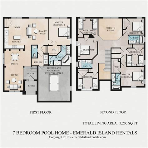 floor plan bed emerald island rentals simba s magic 7 bed villa floor plan