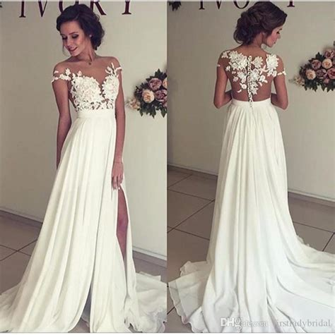 wedding dresses with thigh high slits discount 2017 thigh high slits sheer wedding dresses cheap