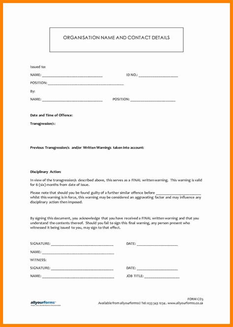 template of written warning 13 written warning template resumes great