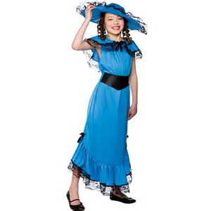 victorian lady blue costume for girls fancy dress up party