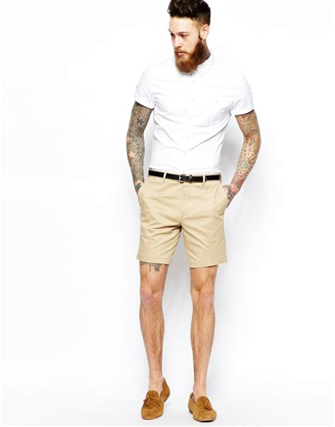 lyst asos slim fit smart chino shorts in for