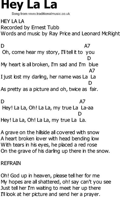 In L Lyrics by Country Song Lyrics With Chords Hey La La