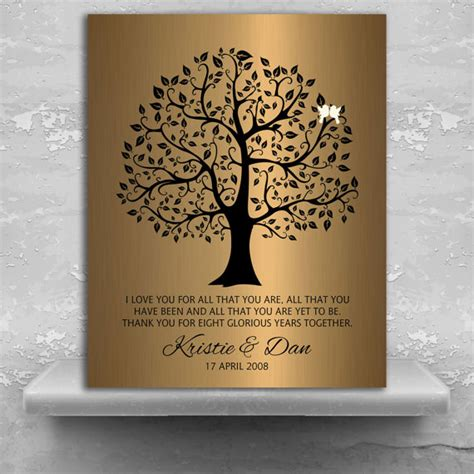 gifts 8 year 8 year anniversary personalized wedding tree gift faux bronze