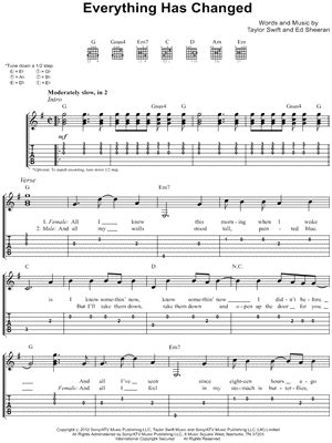 taylor swift everything has changed piano chords taylor swift quot everything has changed quot guitar tab