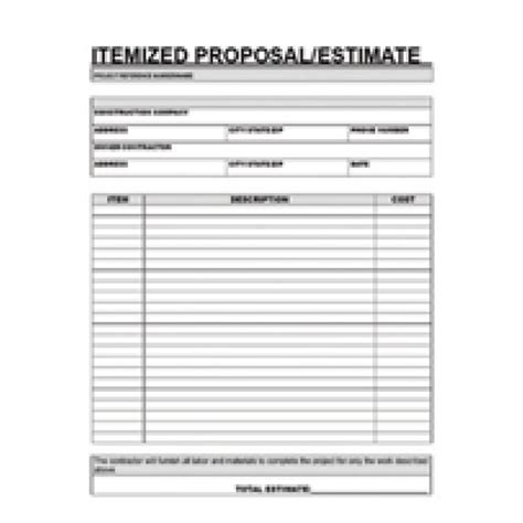 printable contractor proposal forms home clearance contractor itemized proposal