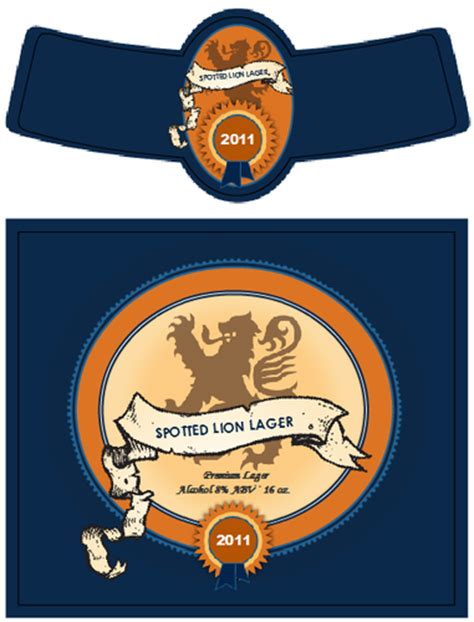 spotted lion lager beer bottle label label templates