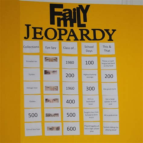 Family Jeopardy Game Diy Pinterest Awesome Family Gatherings And Awesome Games Ideas For Jeopardy Categories