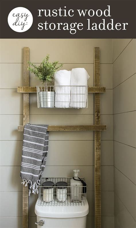 how to make this easy rustic bathroom storage ladder with