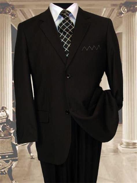 mens 2 button black pinstripe suit