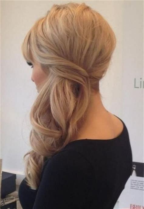homecoming hairstyles side swept half updo prom hairstyles 2015 for long hair