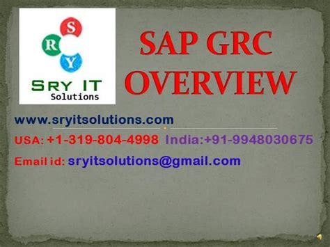 sap grc tutorial pdf sap grc online training sap grc training sryit
