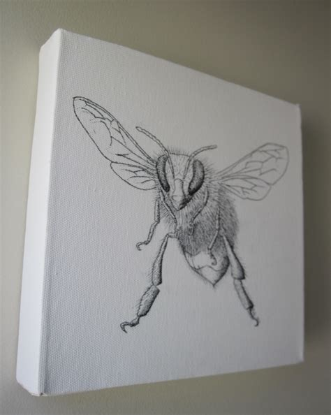 drawing on honey bee original drawing on canvas felt