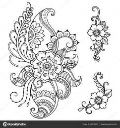 henna tattoo flower template mehndi style set of