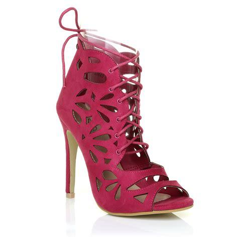 Sandal High Heels Laser lace up peep toe caged laser cut out stiletto high heel sandal shoes size ebay
