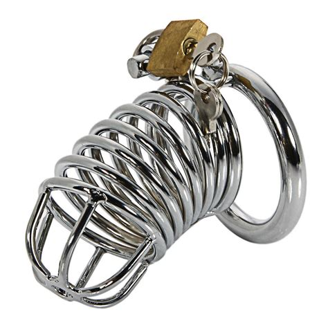 Cage Chastity Rings | 2 quot stainless steel male chastity device ring cage lockable