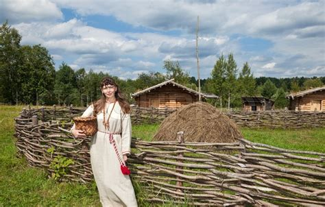 House Plans European by Young Women On Background Of Ancient Traditional Russian
