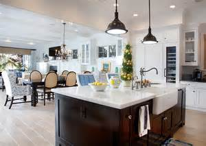 kitchen family room open floor plan small family home with coastal interiors home bunch