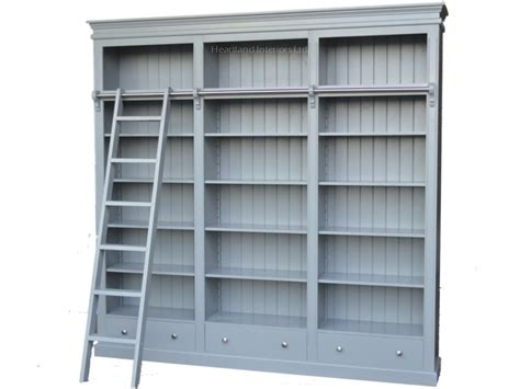 Large Shelves Bookcases by Large Painted Library Bookcase With Ladder 100 Solid Wood