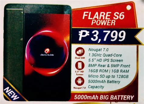 Samsung S6 Best Hdc Pro Max 16gb cherry mobile to launch flare s6 max flare s6 power as part of its q4 2017 lineup www unbox ph