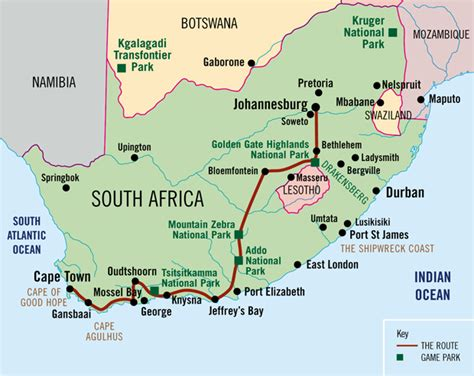 africa map johannesburg absolute africa the garden route cape town to johannesburg