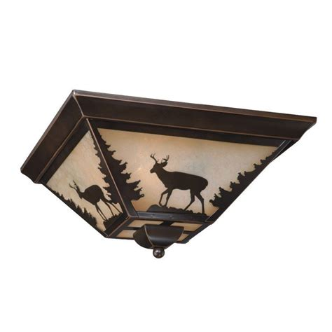Ceiling Lighting Fixtures Flush Mount New 3 Light Rustic Deer Flush Mount Ceiling Lighting Fixture Burnished Bronze Ebay