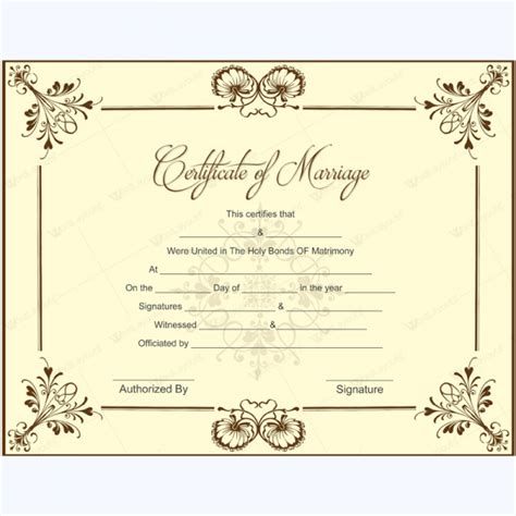 Commemorative Certificate Template by Blank Marriage Certificate Template For Microsoft Word