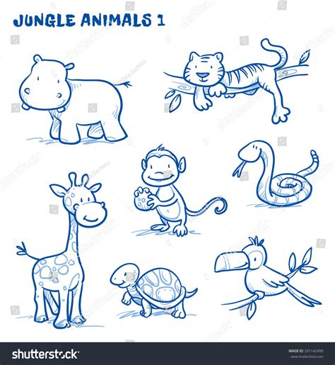 how to draw a doodle monkey jungle safari animals hippo stock vector