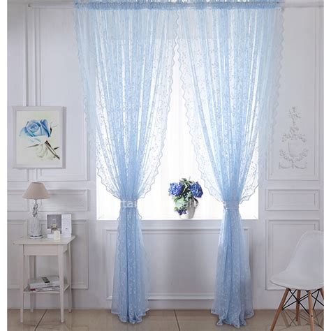 elegant sheer curtains classic blue lace curtain decorative elegant sheer curtain