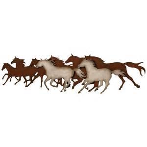 galloping horses metal wall