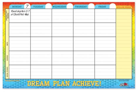 printable student homework planner 2015 7 best images of printable elementary planners homework