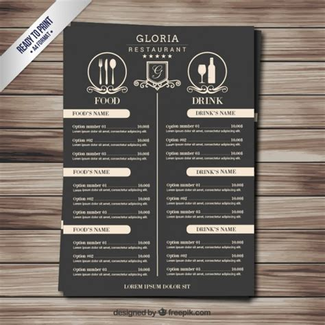 design menu free download retro menu vector free download