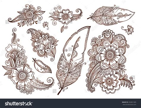 feathers mehndi style vector designs set vector henna flowers feathers mehndi style vector designs stock vector