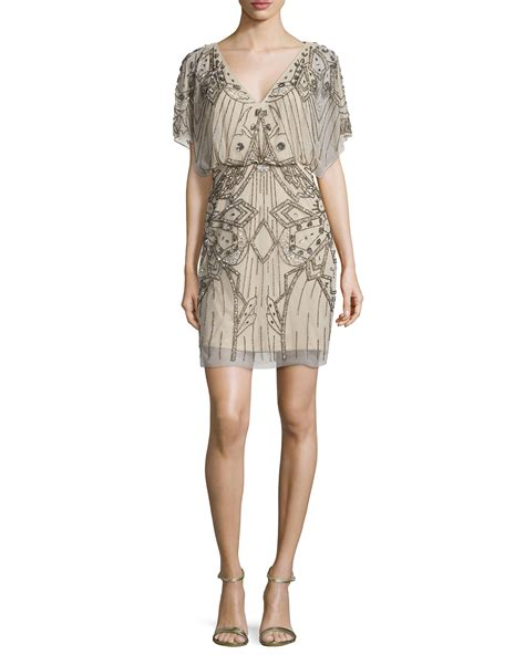 blouson beaded dress aidan mattox sleeve sequined beaded blouson dress