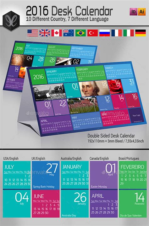 desk calendar templates get ready for 2016 with printable monthly calendar and