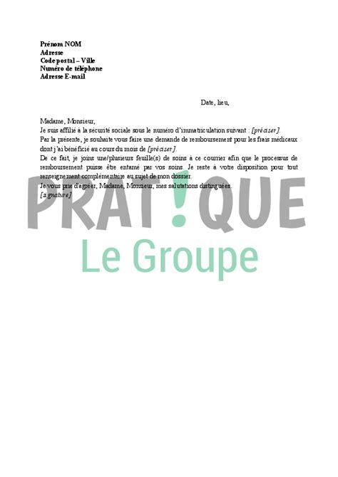 Demande De Remboursement Free Lettre lettre de demande de remboursement de frais m 233 dicaux
