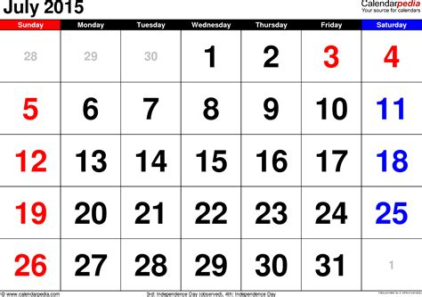 Calendar Template July 2015 July 2015 Calendars For Word Excel Pdf