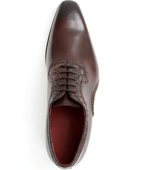 magnanni oxford shoes magnanni crocodile trim oxford shoes in brown for lyst