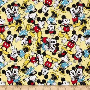 disney mickey mouse amp minnie mouse tossed yellow 1 2 yard jrs fabrics
