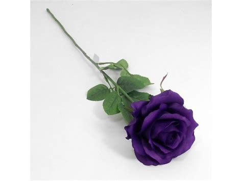 Home Decor Fake Flowers by Artificial 60cm Single Elegance Purple Rose Permabloom